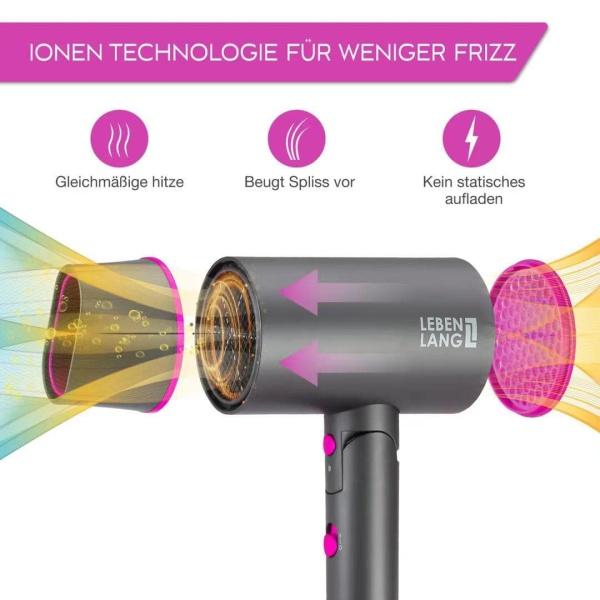 Máy sấy tóc công nghệ ion Lebenlang 2 chiều nóng lạnh, gấp gọn tiện lợi, chống xơ rối tóc 2100W - LBH3088P - Màu hồng- Hàng chính hãng giá rẻ