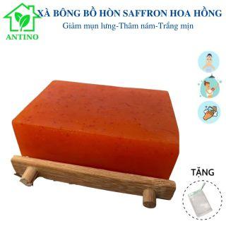 [FREESHIP]Xà Bông Saffron Hoa Hồng XB003 dùng rửa mặt, tắm, giảm mụn, mờ vết nám thâm, cực dưỡng ẩm và làm sáng mịn da, se khít lỗ chân lông, mùi tinh dầu hoa hồng, dạng bánh 120gr ANTINO thumbnail