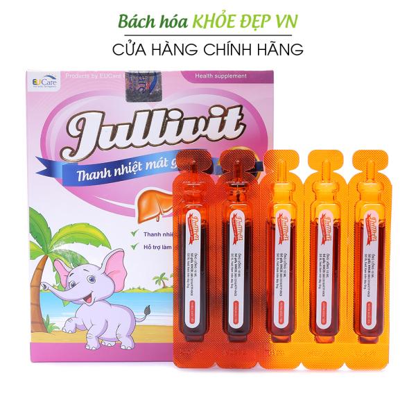 Jullivit siro thanh nhiệt mát gan cho bé, giảm mẩn ngứa, rôm sảy, dị ứng - Hộp 20 ống sử dụng cho bé từ 2 tuổi