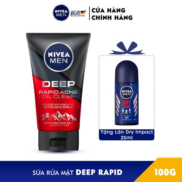 [Tặng Lăn Ngăn Mùi Dry Impact 25ml] Sữa rửa mặt Ngừa mụn Sạch sâu NIVEA MEN Himalaya Deep Rapid Acne Oil Clear (100g) - 88521 cao cấp