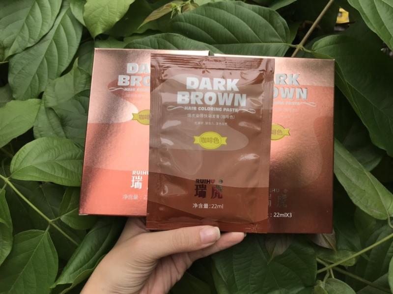 1 gói nhuộm tóc thảo dược dạng gội - Màu Nâu Cafe 22ml + Tặng kèm bao tay cao cấp
