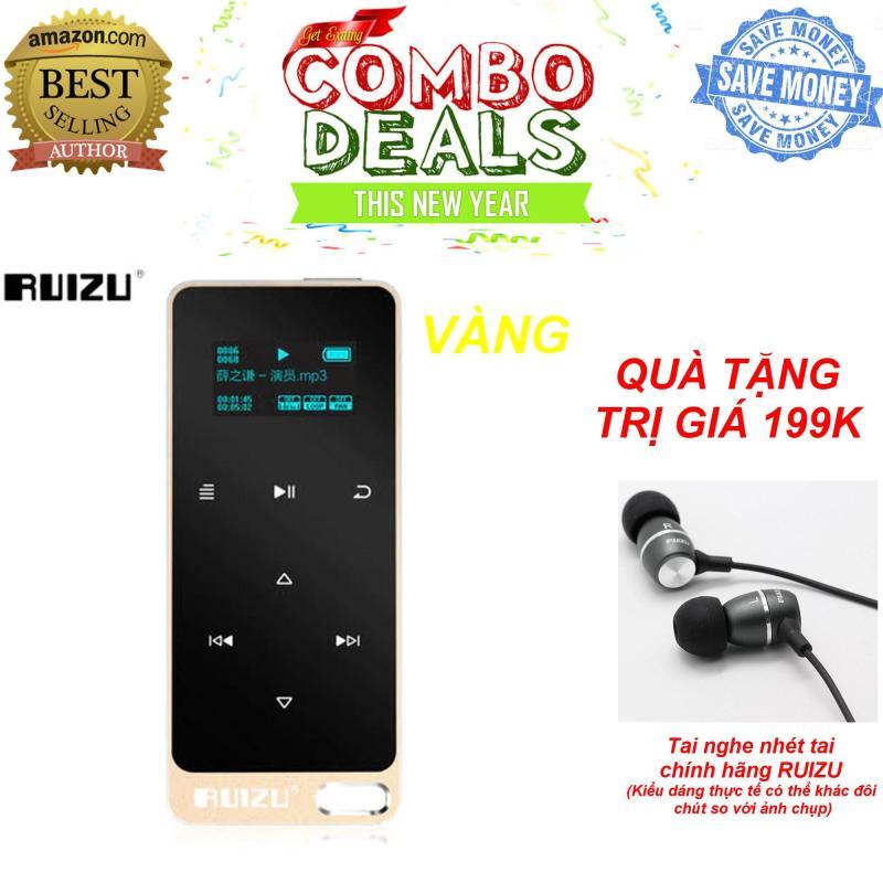 Máy ghi âm, nghe nhạc MP3 Lossless RUIZU X05 (Vàng) [Công ty nhập khẩu và phân phối] - Bảo hành 6 tháng lỗi đổi mới + TẶNG tai nghe nhét tai RUIZU chất lượng cao trị giá 199K