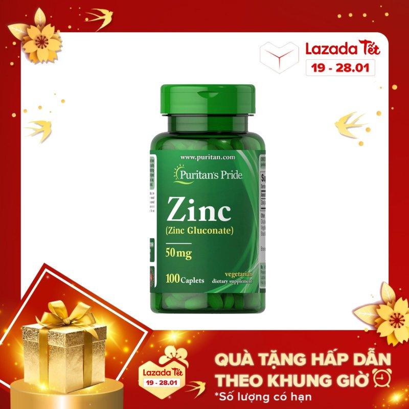 Viên uống bổ sung zinc giúp tăng cường sức khỏe, tăng cường sinh lý nam giới Zinc Gluconate 50mg  Puritans Pride  100 viên