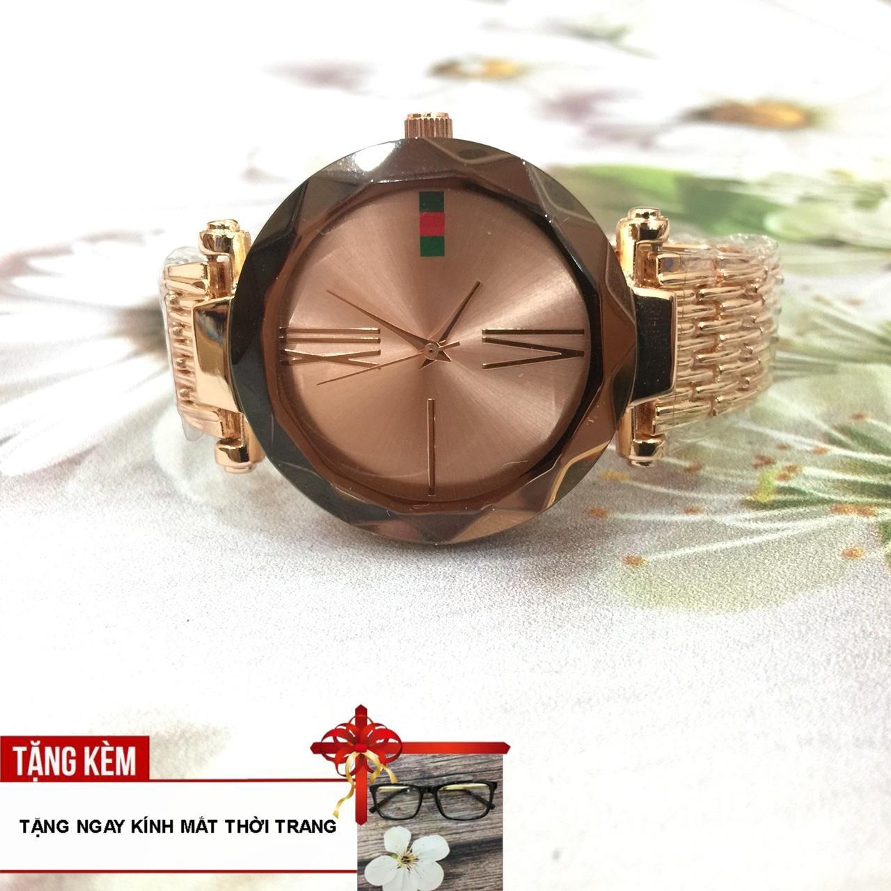 Nơi bán [NHÌN LÀ MÊ - TẶNG NGAY KÍNH MON THỜI TRANG] Đẹp lung linh cùng với chiếc đồng hồ nữ dây thép mặt viền trơn chạy 3 kim A184-55