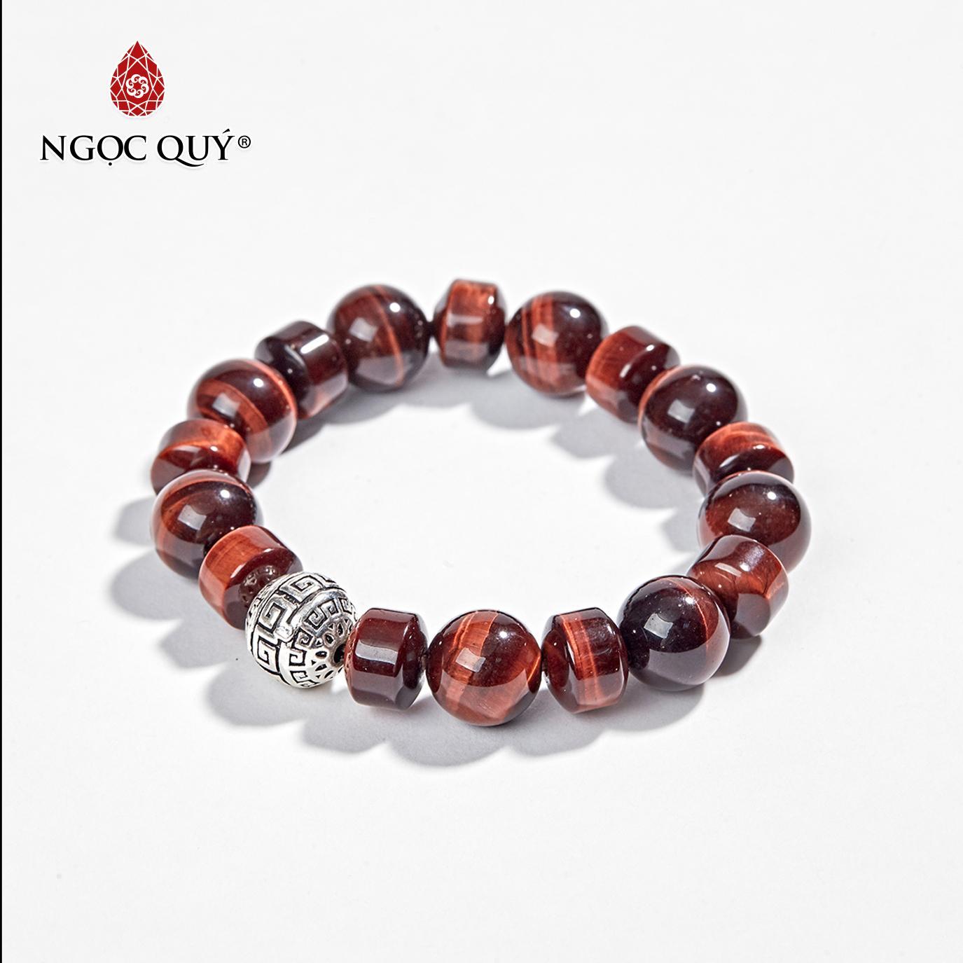 Vòng Tay Phong Thủy Đá Thạch Anh Mắt Hổ Đỏ Viên Trụ 10mm  Mệnh Hỏa , Thổ - Ngọc Quý Gemstones