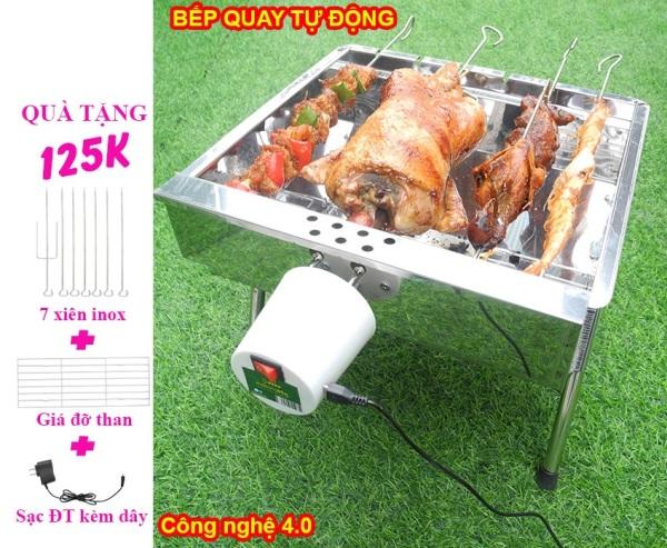 Bếp nướng than hoa Tự Xoay V5S, lò quay vịt, lò nướng, lò nướng than: Siêu đa năng, thơm ngon, chín đều, an toàn sức khỏe, inox bền đẹp [Bếp nướng than hoa không khói, bếp nướng không khói, bếp nướng ngoài trời, MekongBBQ]