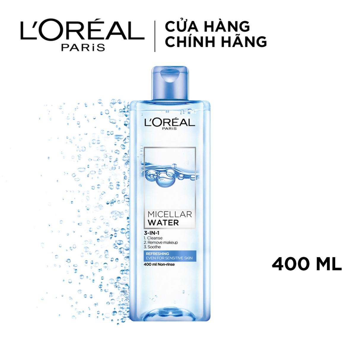 Nước tẩy trang L'Oreal Paris Micellar Water tươi mát 95ml - 400ml (xanh dương nhạt)