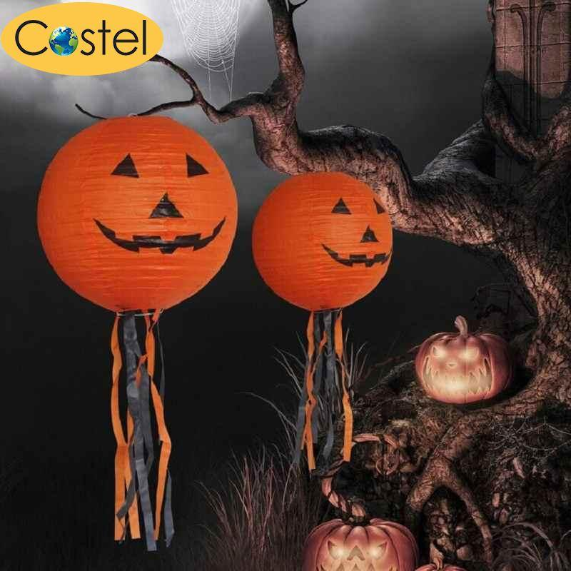 Paper Pumpkin Smiling Face Hanging Lantern Light Lamp Halloween Party Decor - intl