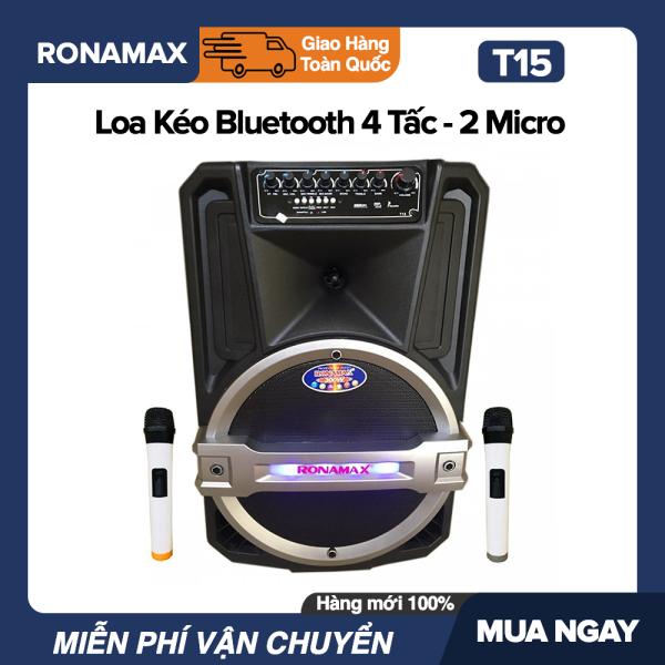 Loa Kéo Karaoke Di Động Bluetooth Ronamax T15 (400W) - 4 Tấc , 2 Mic Đi Kèm, Vỏ Nhựa ABS - Bảo Hành 6 Tháng.bluetooth.karaoke.nghe nhạc.kẹo kéo.mini.bass mạnh.giá rẻ.công suất lớn.led 7 màu.gia đình.cỡ lớn