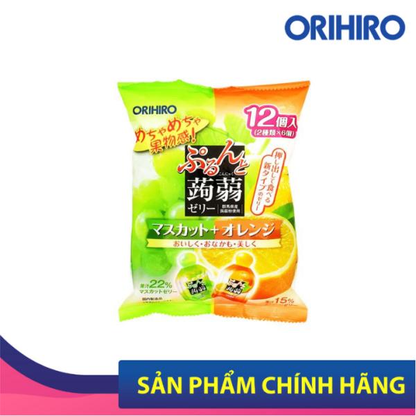 Thạch Trái Cây Orihiro Vị Nho Xanh Và Cam Bổ Sung Chất Xơ, Vitamin An Toàn Cho Bé 12 Gói/Túi