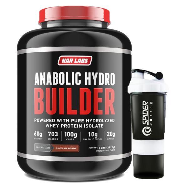 Combo Sữa tăng cơ, tăng cân - Anabolic Hydro Builder - Narlabs Nutrition - 3kg 30 lần dùng & Bình lắc 700 ml