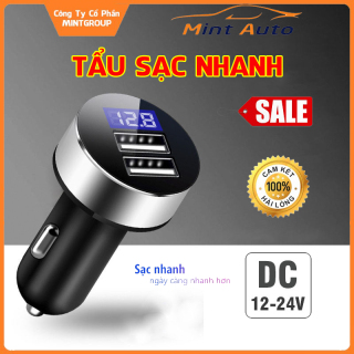 Tẩu sạc nhanh, tẩu sạc cho ô tô, xe hơi, xe khách, xe tải, 2 cổng USB, DC12-24V có màn hình LED thumbnail