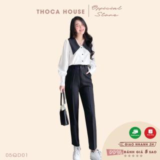 Quần baggy nữ kiểu lỡ nút trơn đen 186 THOCA HOUSE có size, chuẩn form quần tây đi làm, đi học thumbnail