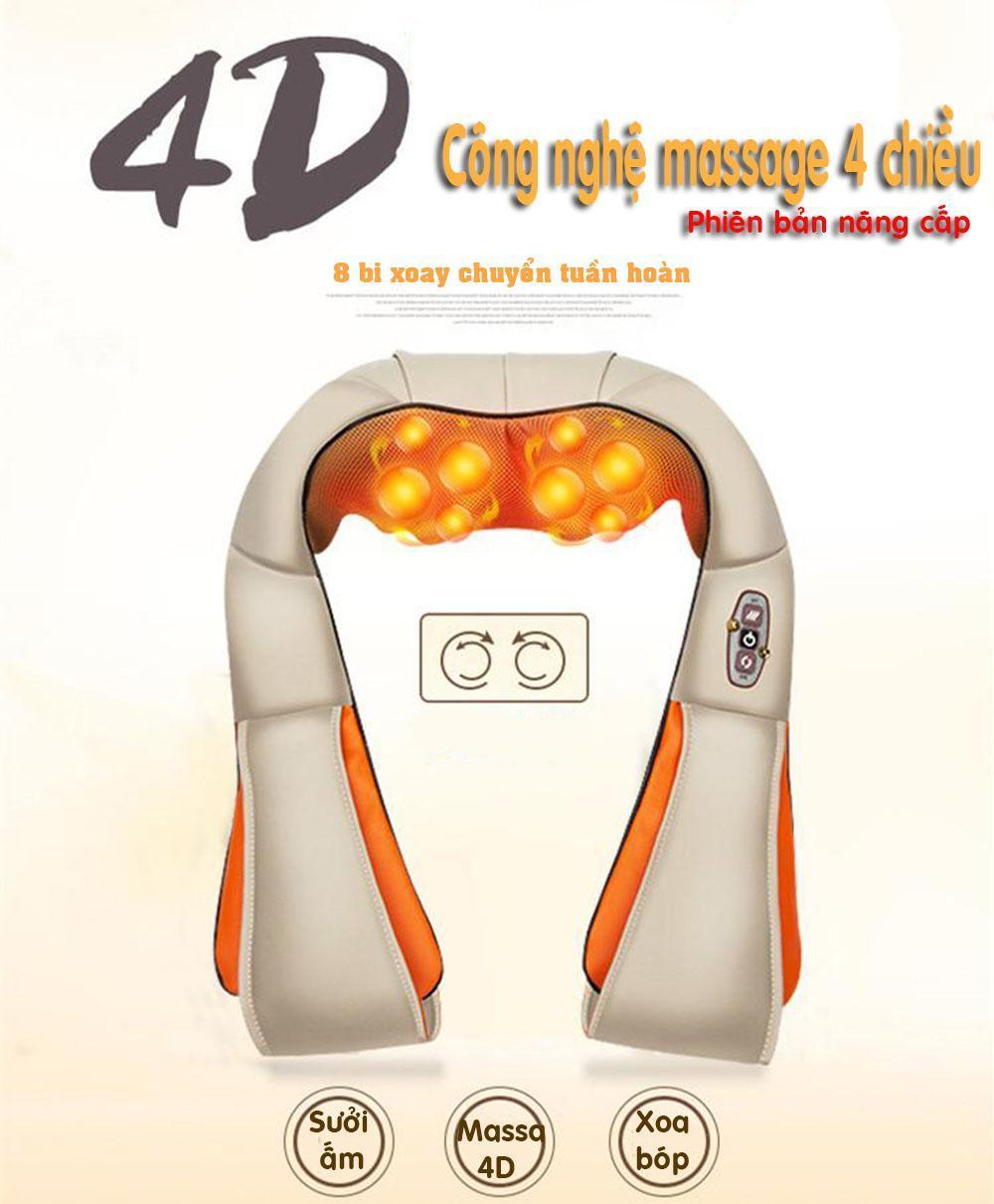Đai massage lưng phiên bản xuất khẩu, massage chân, mat xa cổ vai gáy, có đai giữ, thiết kế nâng cấp phiên bản 4D bản quốc tế