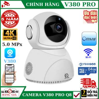 (Tùy Chọn Kèm thẻ nhớ 128GB - bảo hành 5 năm), Camera IP Wifi V380 Pro Q8 , 5.0MPx , độ phân giải 4K , đàm thoại 2 chiều , xoay 360 độ , camera wifi ,camera ip , camera an ninh , camera giám sát , camera chống trộm , camera mini , camera360 thumbnail