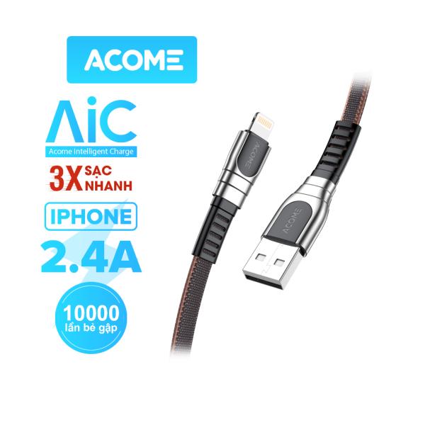 [Bảo Hành 12 tháng] ACOME Cáp Sạc Nhanh AKL010/AKC010/AKM010 2.4A Cổng Kết Nối Lightning/Type C/ Micro Tương Thích Với Thiết Bị Iphone Ipad Android Dây Dù An Toàn Chắc Chắn Chiều Dài 1 mét - Hàng Chính Hãng