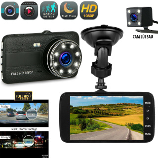 Camera Hành Trình Ô Tô Ontek LD8 Full HD 1080P Tích hợp 8 LED Camera Hành Trình Camera Taplo Màn Hình IPS Góc Rộng 170 Độ Hai Kênh Trước Và Sau Có Đèn LED Tầm Nhìn Ban Đêm cảm Biến G Phát Hiện Chuyển Động Ghi thumbnail