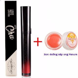 Son kem lì Chu Lipstick 27g (08 Gigi Đỏ cam) + Son dưỡng sáp ong Nature thumbnail