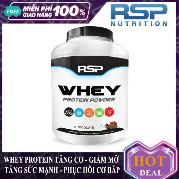 Sữa tăng cơ giảm mỡ Whey Protein Powder của RSP hương chocolate hộp 51 lần dùng hỗ trợ tăng cơ, tăng sức bền sức mạnh, đốt mỡ giảm cân cho người chơi thể thao và tập GYM