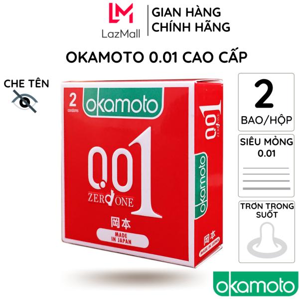 Bao cao su okamoto 0.01 CAO CẤP siêu mỏng 2 bao/hộp trong suốt không mùi cao su truyền nhiệt nhanh kéo dài thời gian chống tuột cao cấp