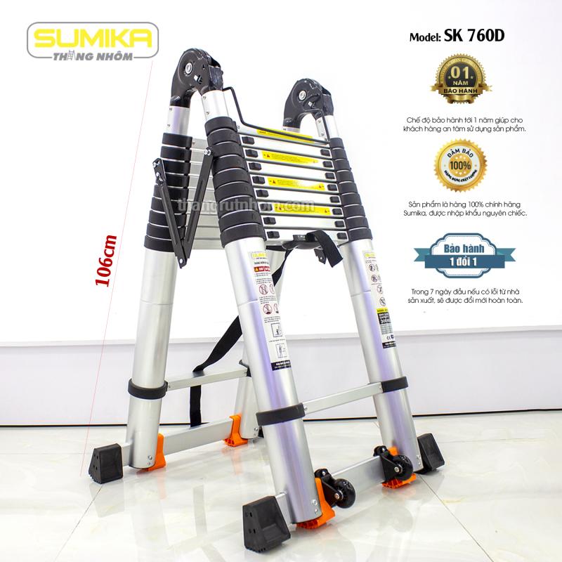 SK760D Thang nhôm rút đôi Sumika SK760D (Màu đen - A 3.8M+duỗi  I 7.6M)