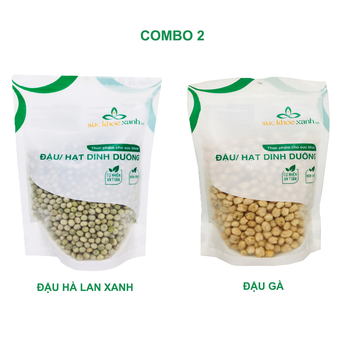 Combo 2 - Đậu gà & Đậu hà lan xanh nguyên hạt (mỗi túi 500g)
