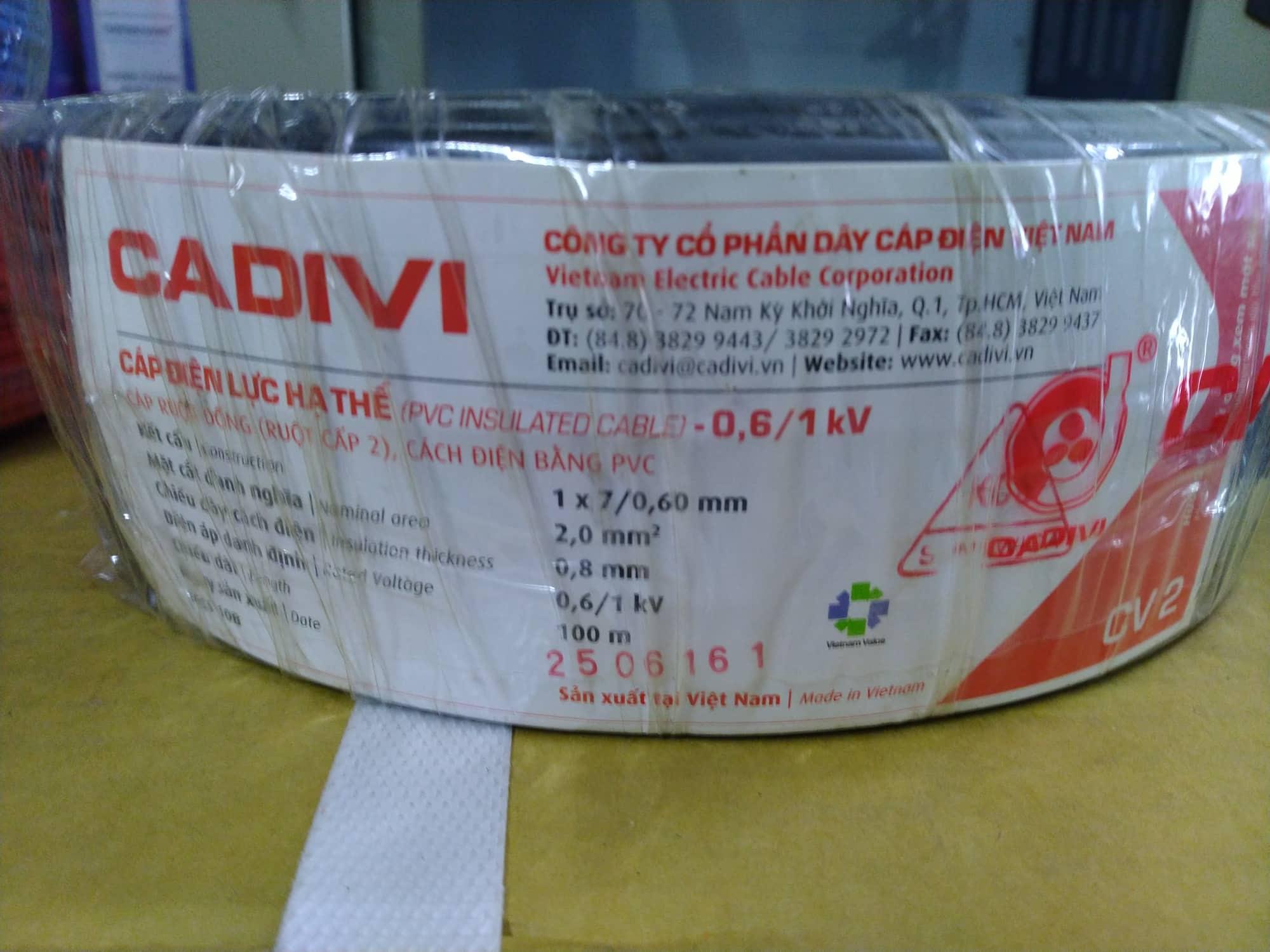 Dây điện đơn Cadivi CV2.0 (100m/Cuộn)