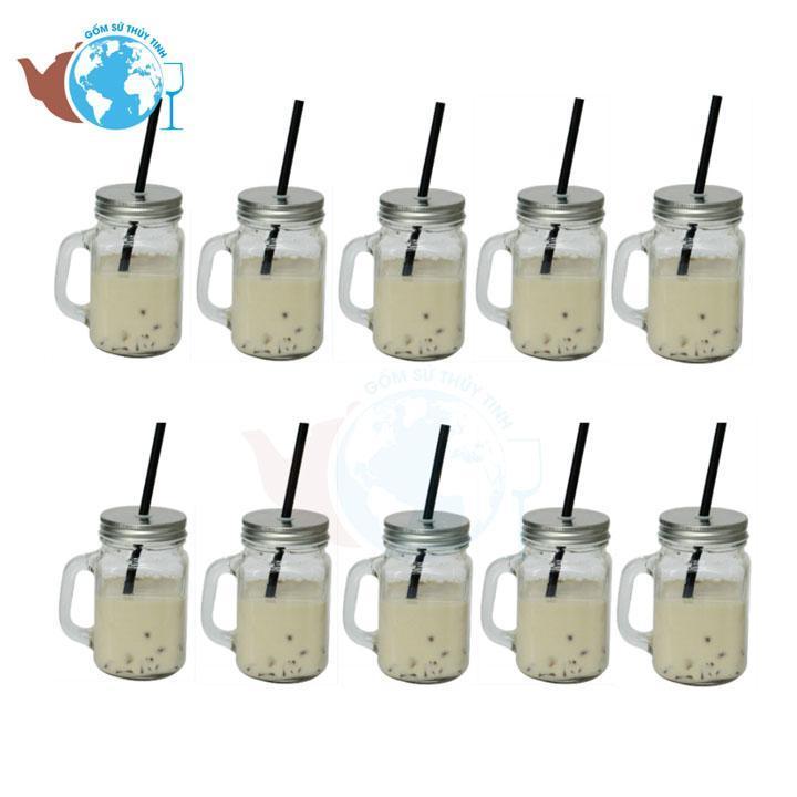 Bộ 10 ly quai thủy tinh uống trà sữa có nắp 450ml Nhật Bản