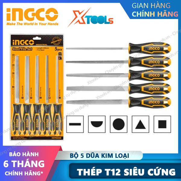 Bộ 5 dũa kim loại cầm tay cao cấp INGCO HKTFS0508 thép T12 siêu cứng chống rỉ dũa dẹp tròn vuông bán nguyệt tam giác [XSAFE] [XTOOLs]