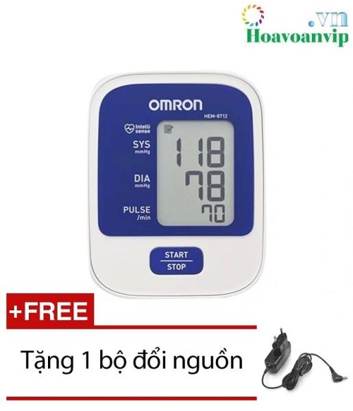 Nơi bán Máy đo huyết áp bắp tay Omron Hem 8712 (Trắng phối xanh) + Tặng bộ đổi nguồn cao cấp