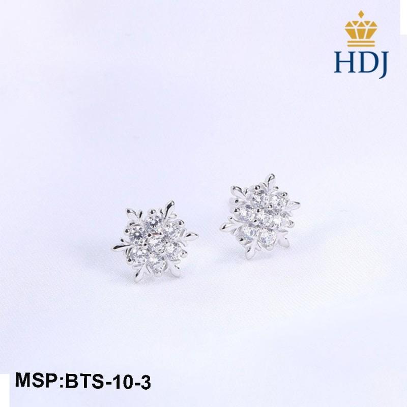 Combo dây chuyền và khuyên tai bạc Ý 925 Hình Hoa Tuyết sang trọng trang sức cao cấp HDJ mã BTS-10-3