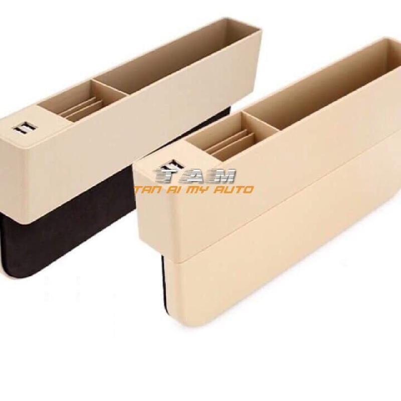 Hộp đựng đồ trên khe ghế ô tô có tẩu sạc 2 cổng USB
