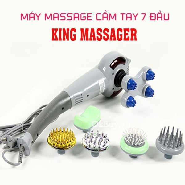 MÁY MASSA 7 ĐẦU MAGIC KING - Máy massage toàn thân cầm tay hồng ngoại 7 đầu đa năng KING MASSAGER ( BẢO HÀNH 12 THÁNG ) cao cấp