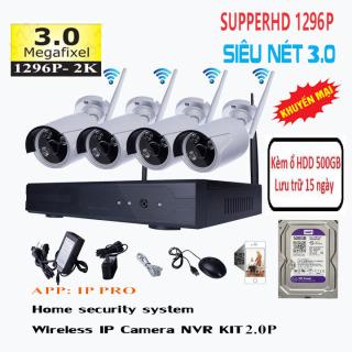 Bộ Kit Camera 4 Kênh Wifi NVR KIT Super HD 3.0Mpx Kèm Ổ Cứng 500GB thumbnail