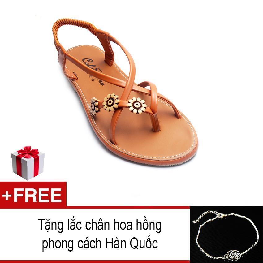 Giày xăng đan họa tiết GD55 (Nâu) + Tặng 01 lắc chân bạc dây đôi thời trang