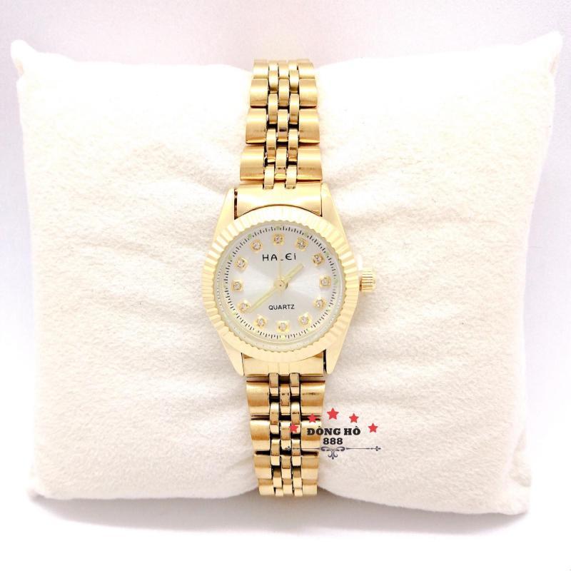 Đồng hồ nữ HALEI dây kim loại thời thượng ( HL356 dây vàng mặt trắng ) - TẶNG 1 vòng tỳ hưu phong thuỷ