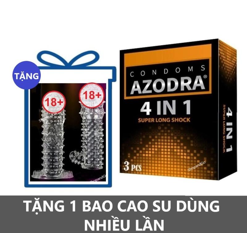 Bộ 1 hộp Bao cao su kéo dài thời gian AZODRA 3 cái tặng 1 Bcs cao cấp dùng nhiều lần