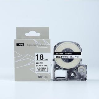 Tape nhãn in SS18KW (LC-5WBN) tương thích máy in nhãn KingJim SR & EPSON LW - Nhãn in chữ đen nền trắng 18mm thumbnail
