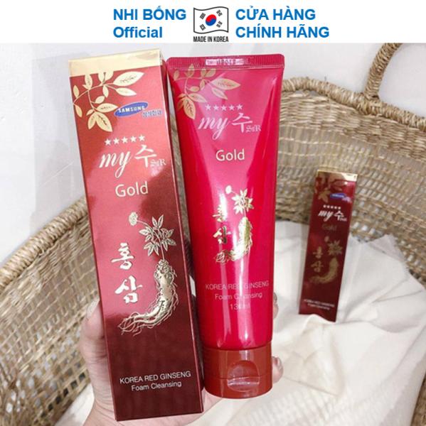 Sữa rửa mặt trắng da và sạch sâu chiết xuất từ Hồng Sâm Đỏ My Gold Hàn Quốc 130ml Giúp da trắng sáng mềm mịn tự nhiên SRM17 cao cấp
