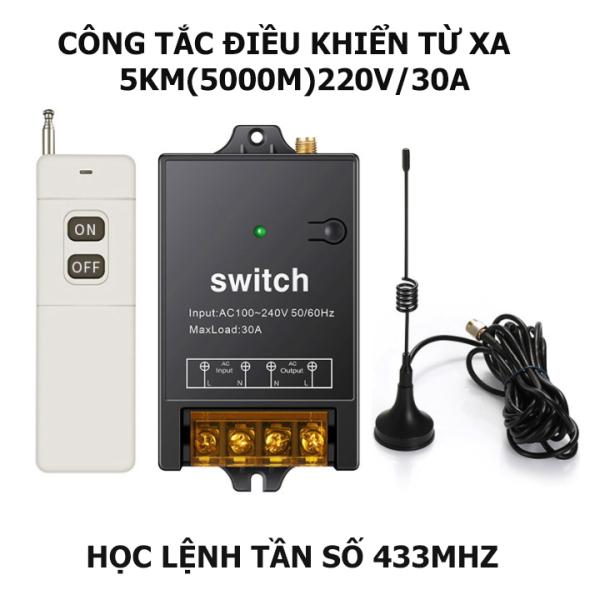 Bộ công tắc điều khiển từ xa 5Km/220V/30A có chức năng học lệnh từ điều khiển  khác ở tần số 433MHZ, công tắc điều khiển từ xa không dây, ổ cắm điều khiển từ xa, công tắc bật tắt máy bơm nước, công tắc wifi