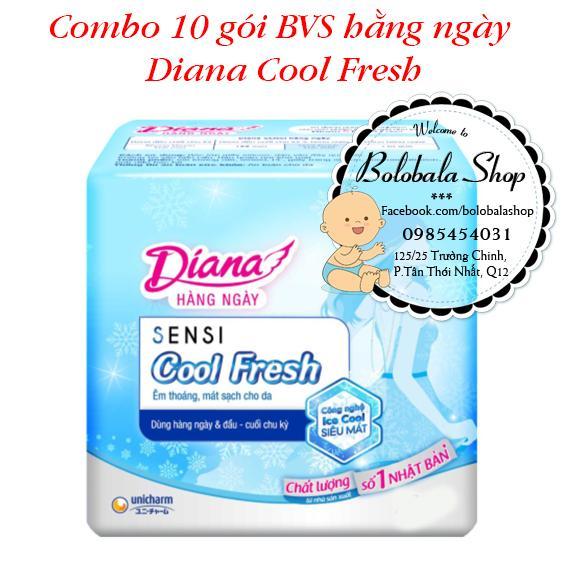 Combo 10 gói Băng vệ sinh hằng ngày Diana Cool Fresh [gói 8 miếng] nhập khẩu