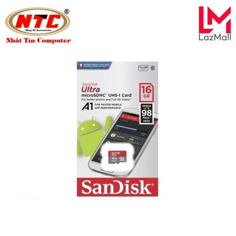 Thẻ nhớ MicroSDHC SanDisk Ultra A1 16GB Class 10 U1 98MB/s box Anh - Model 2019 (Đỏ) - Nhat Tin Authorised Store