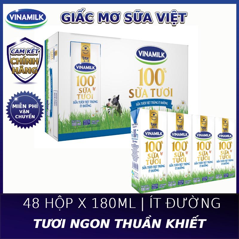 [FREESHIP 0Đ]-Thùng 48 Hộp Sữa tươi tiệt trùng Vinamilk 100% Ít Đường 180ml