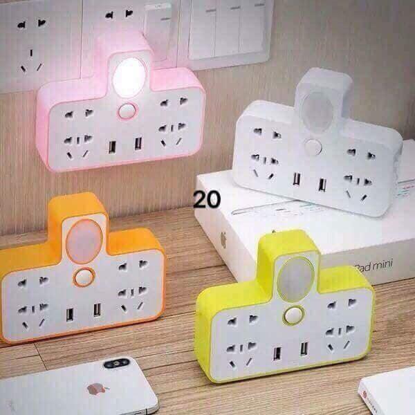 Ổ Cắm Điện - Ổ Điện Đa Năng Cao Cấp 6 Phích Cắm , 2 Cổng USB Sạc Điện Thoại Kiêm Đèn Ngủ Siêu Tiện Lợi giá rẻ