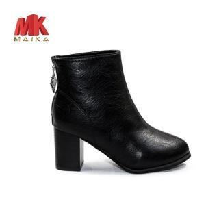 Boot Nữ Gót Vuông Cao 8cm cổ cao S128 Đen thời trang hiện đại cá tính MK STORE
