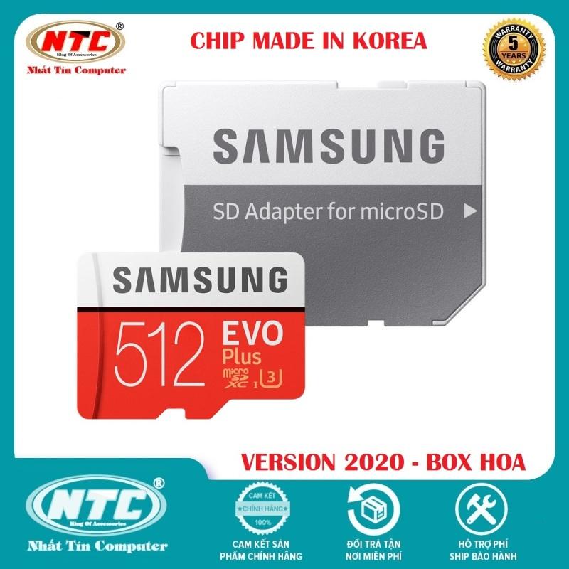 Thẻ nhớ MicroSDXC Samsung Evo Plus 512GB U3 4K R100MB/s W90MB/s - box Hoa New 2020 (Đỏ) + Kèm Adapter - Made in Korea - Nhất Tín Computer