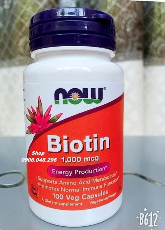 Biotin  NOW Foods USA  hỗ trợ mọc Tóc, râu, da, móng , 100 Viên - 1 Chai . Viên uống cung Cấp thêm vitamin - dưỡng chất  Dùng riêng lẻ hay Kết hợp với minoxidil ( Dùng cho Nam hay Nữ ) .