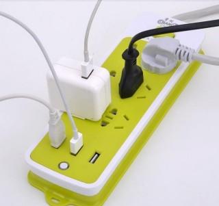 [GIÁ CỰC TỐT] Ổ CẮM ĐIỆN MÀU XANH LÁ ĐA NĂNG GỒM 6 LỖ KÈM 3 CÁP SẠC USB - GIÚP NẠP ĐIỆN NHANH CHỐNG CHO MỌI THIẾT BỊ - CHỐNG GIẬT - GIÚP TIẾT KIỆM ĐIỆN TỐI ĐA thumbnail