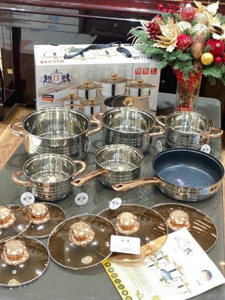 [HOT SALE] Bộ nồi đức vung kính, 6 món 12 chi tiết, thương hiệu Đức - Đẹp không tì vết ! - Dùng được cho mọi loại bếp, đặc biệt là bếp từ