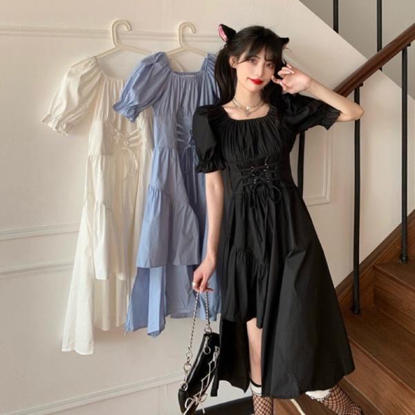 Váy suông cổ vuông lệch tầng dáng dài ulzzang/ Váy nữ ngắn tay đan dây eo mặc 2 kiểu - xuongmaythuhien